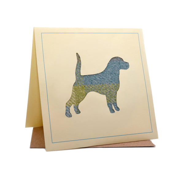 Dog Tweed Fabric Greeting / Birthday Card