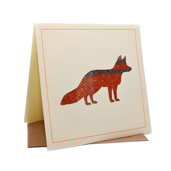 Fox Tweed Fabric Greeting / Birthday Card