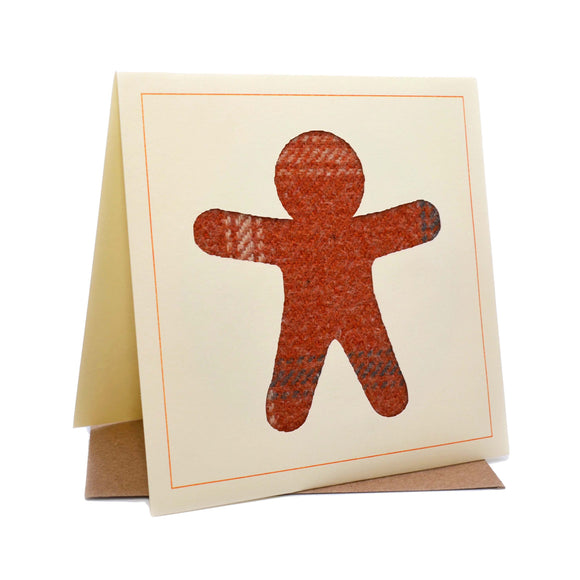 Gingerbread Man Tweed Fabric Greeting / Birthday Card