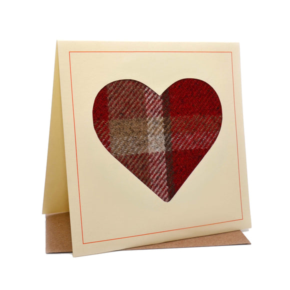 Heart Tweed Fabric Greeting / Birthday Card