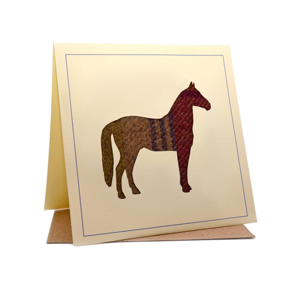 Horse Tweed Fabric Greeting / Birthday Card