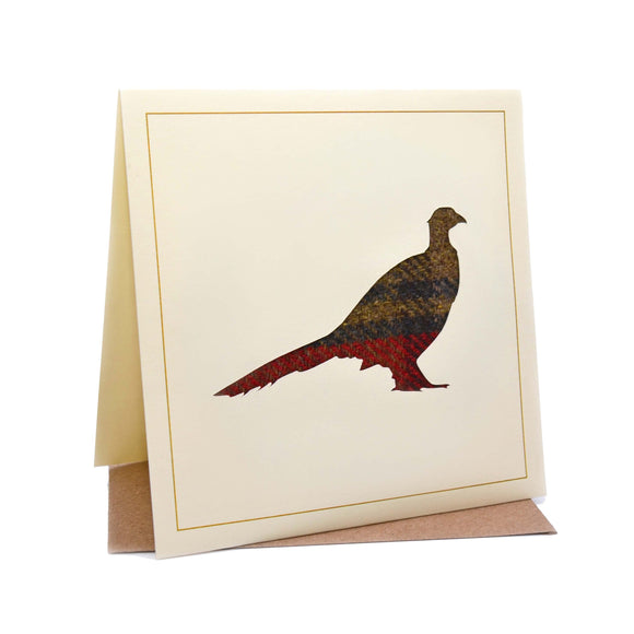 Pheasant Tweed Fabric Greeting / Birthday Card