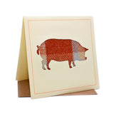 Pig Tweed Fabric Greeting / Birthday Card
