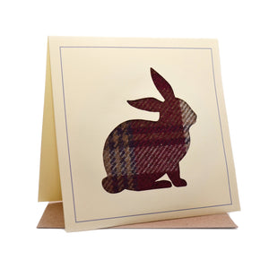 Rabbit Tweed Fabric Greeting / Birthday Card
