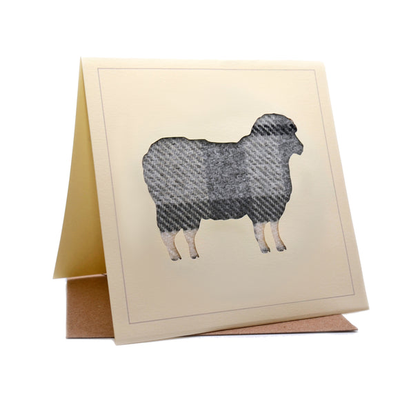 Sheep Tweed Fabric Greeting / Birthday Card