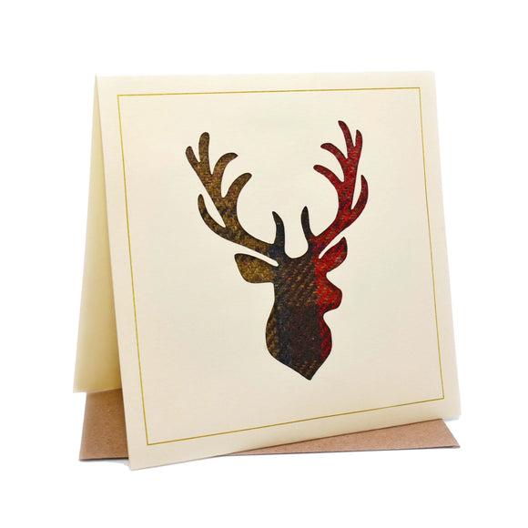 Stag Tweed Fabric Greeting / Birthday Card