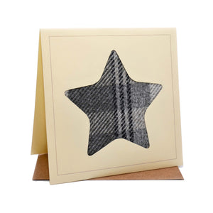 Star Tweed Fabric Greeting / Birthday Card