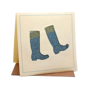 Wellies Tweed Fabric Greeting / Birthday Card