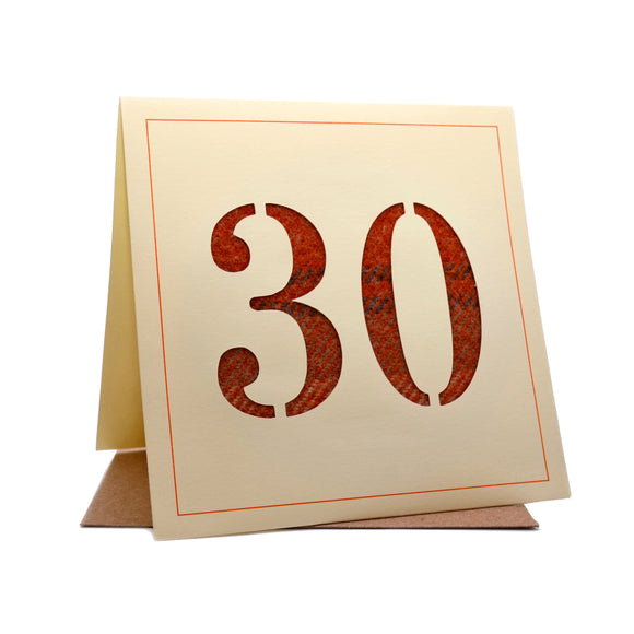 30th Tweed Fabric Birthday Card
