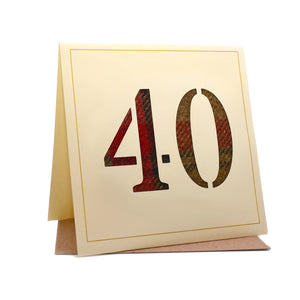 40th Tweed Fabric Birthday Card