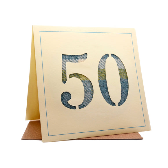 50th Tweed Fabric Birthday Card