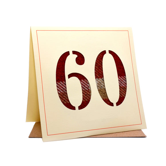 60th Tweed Fabric Birthday Card