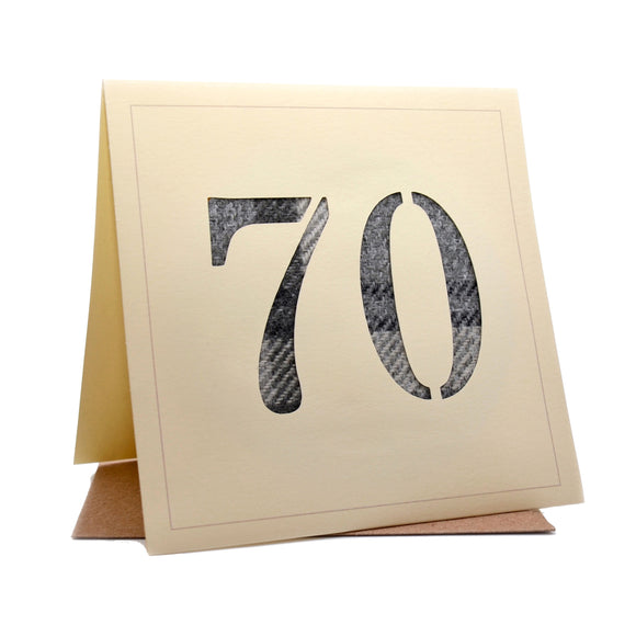 70th Tweed Fabric Birthday Card