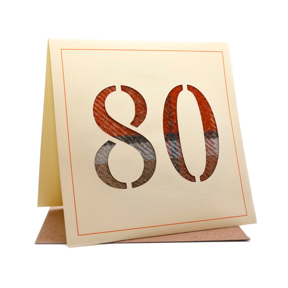 80th Tweed Fabric Birthday Card
