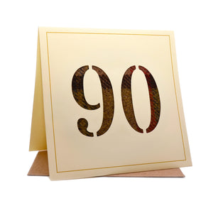 90th Tweed Fabric Birthday Card