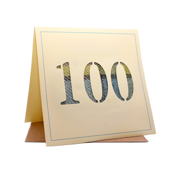 100th Tweed Fabric Birthday Card