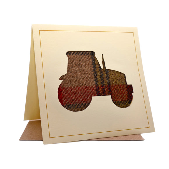 Tractor Tweed Fabric Greeting / Birthday Card