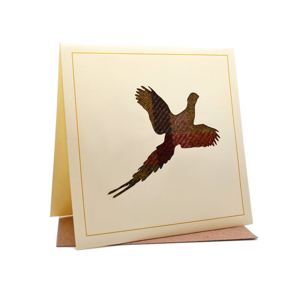 Flying Pheasant Tweed Fabric Greeting / Birthday Card