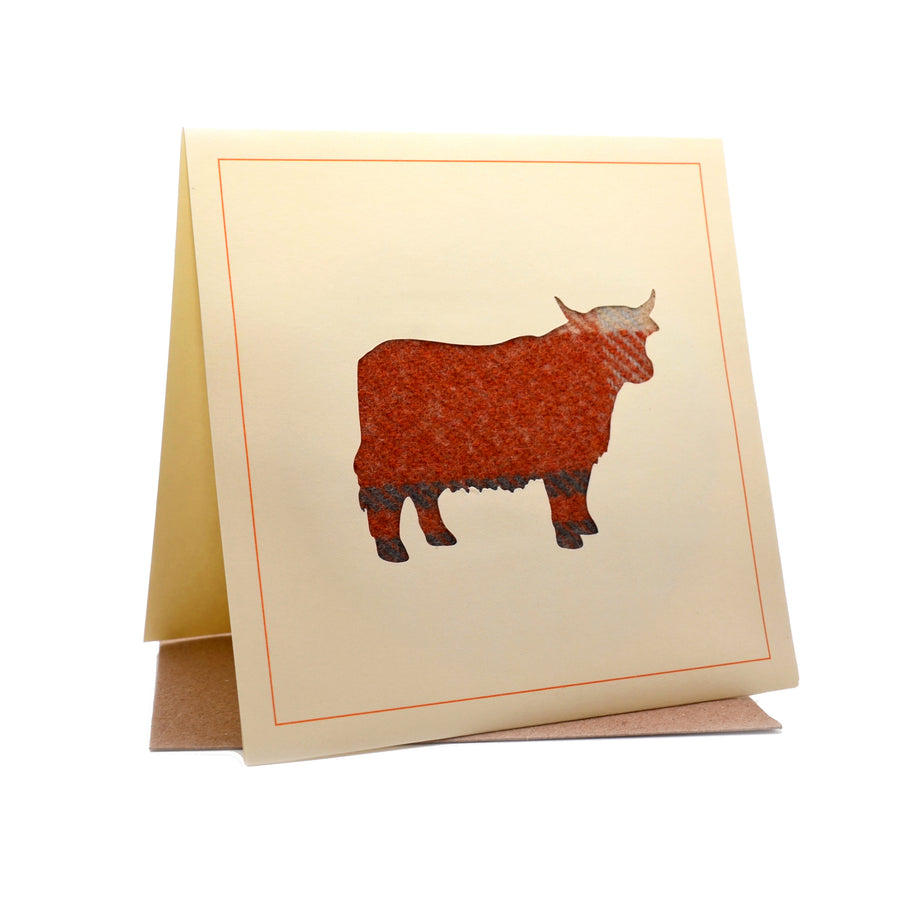 Highland Cow Tweed Fabric Greeting / Birthday Card