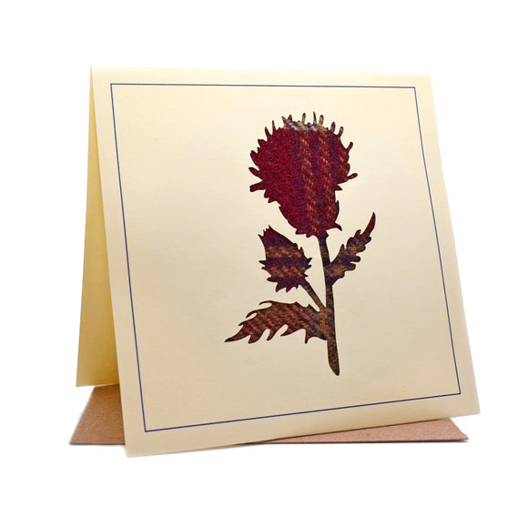 Scottish Thistle Tweed Fabric Greeting / Birthday Card