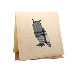 Owl Tweed Fabric Greeting / Birthday Card