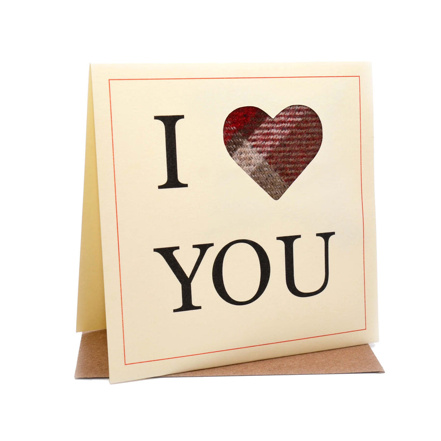 I Heart You Tweed Fabric Birthday / Valentine's / Anniversary Card