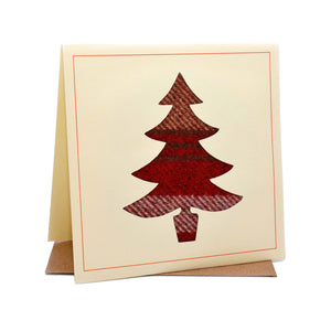 Christmas Tree Tweed Fabric Christmas Card