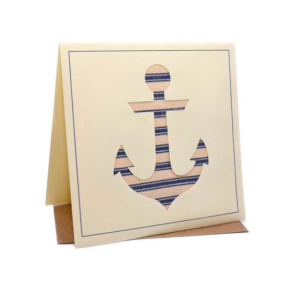 Boat Anchor Seaside Fabric Greeting / Birthday Card