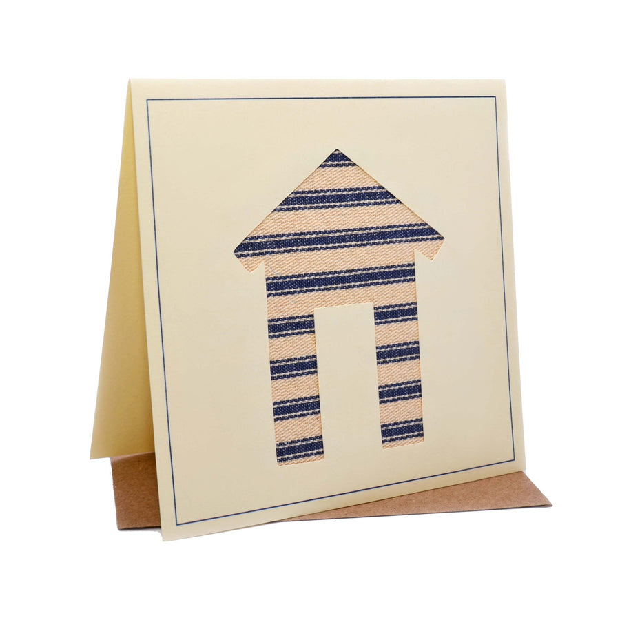 Beach Hut Seaside Fabric Greeting / Birthday Card