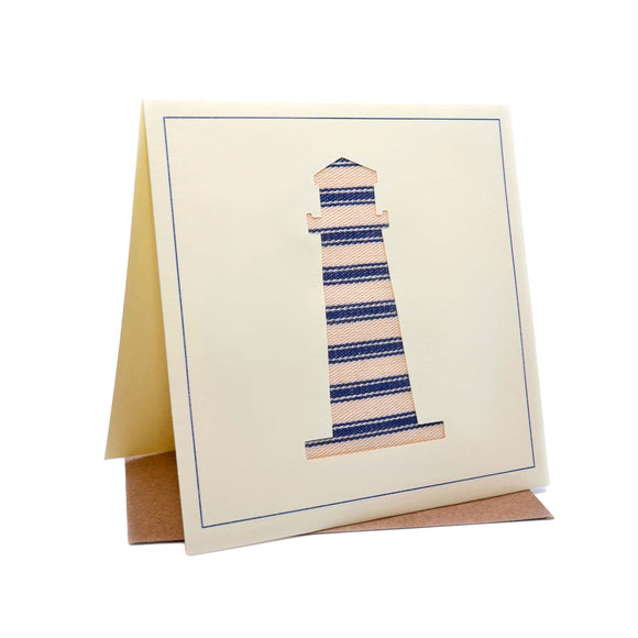 Lighthouse Seaside Fabric Greeting / Birthday Card