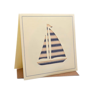 Sailing Boat Seaside Fabric Greeting / Birthday Card