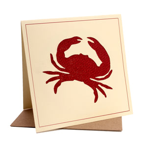 Crab Fabric Greeting / Birthday Card