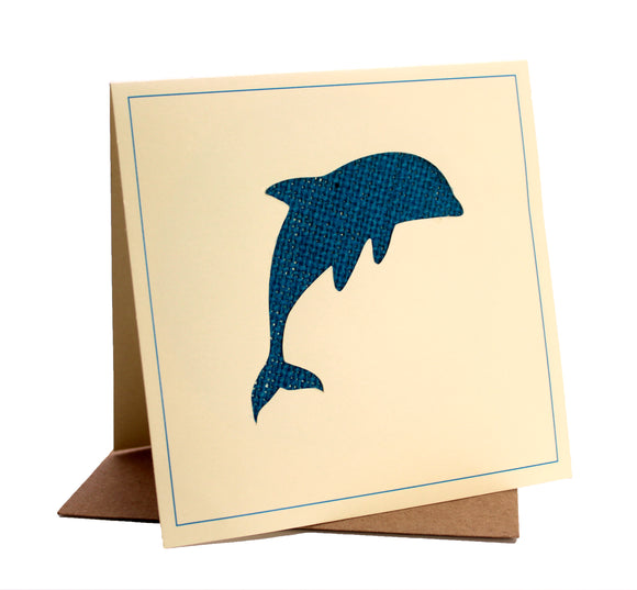 Dolphin Fabric Greeting / Birthday Card