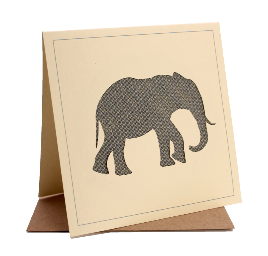 Elephant Fabric Greeting / Birthday Card