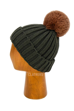 Ladies Green Winter Knitted Beanie Detachable Faux Fur Bobble Pom Pom Hat