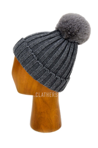 Ladies Grey Winter Knitted Beanie Detachable Faux Fur Bobble Pom Pom Hat