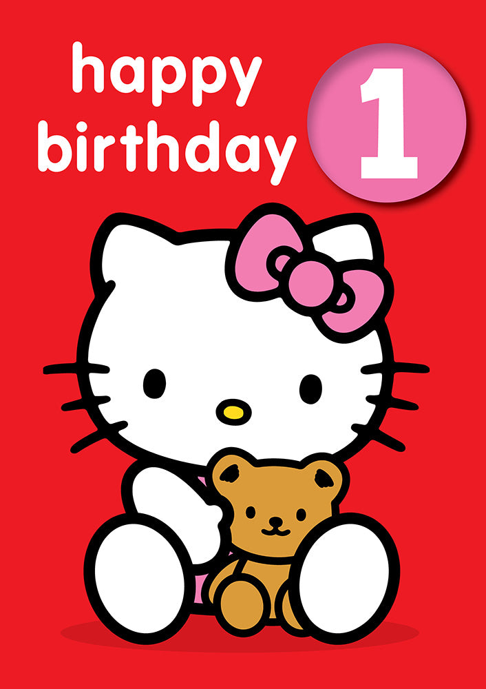 Happy Birthday 1, With Safe Pin Badge, Hello Kitty 1st Birthday Card