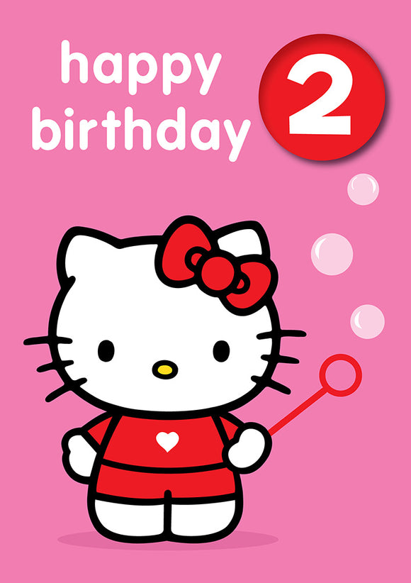 Happy Birthday 2, With Safe Pin Badge, Hello Kitty 2nd Birthday Card