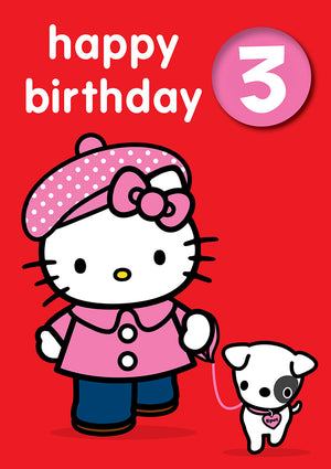 Happy Birthday 3, With Safe Pin Badge, Hello Kitty 3rd Birthday Card