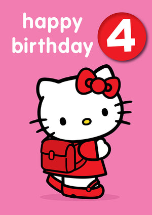 Happy Birthday 4, With Safe Pin Badge, Hello Kitty 4th Birthday Card