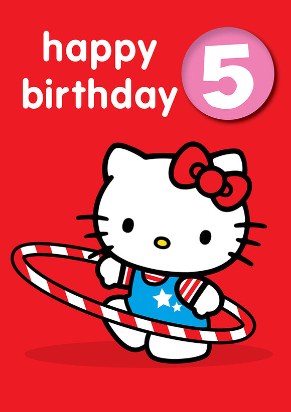 Happy Birthday 5, With Safe Pin Badge, Hello Kitty 5th Birthday Card