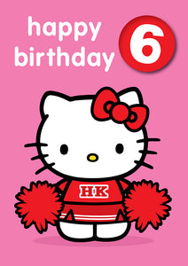 Happy Birthday 6, With Safe Pin Badge, Hello Kitty 6th Birthday Card