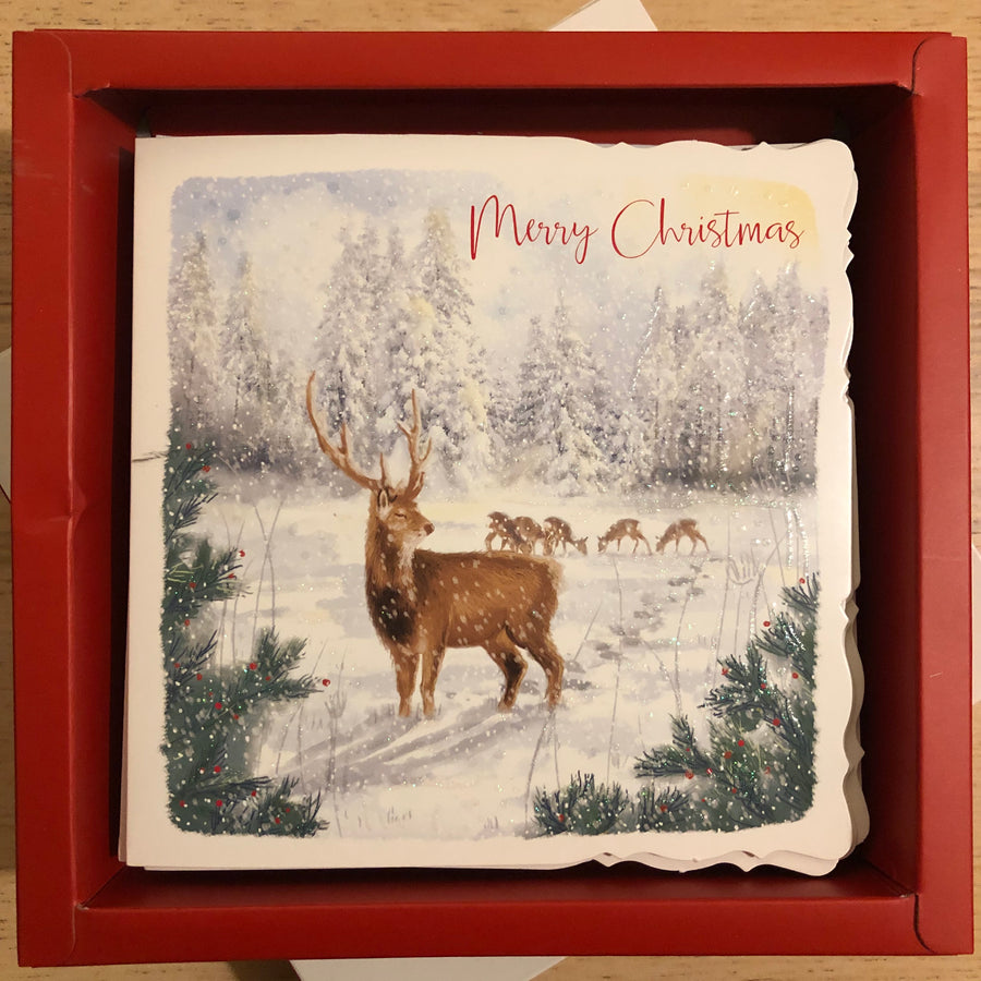 Stag Merry Christmas Christmas Card Pack of 10