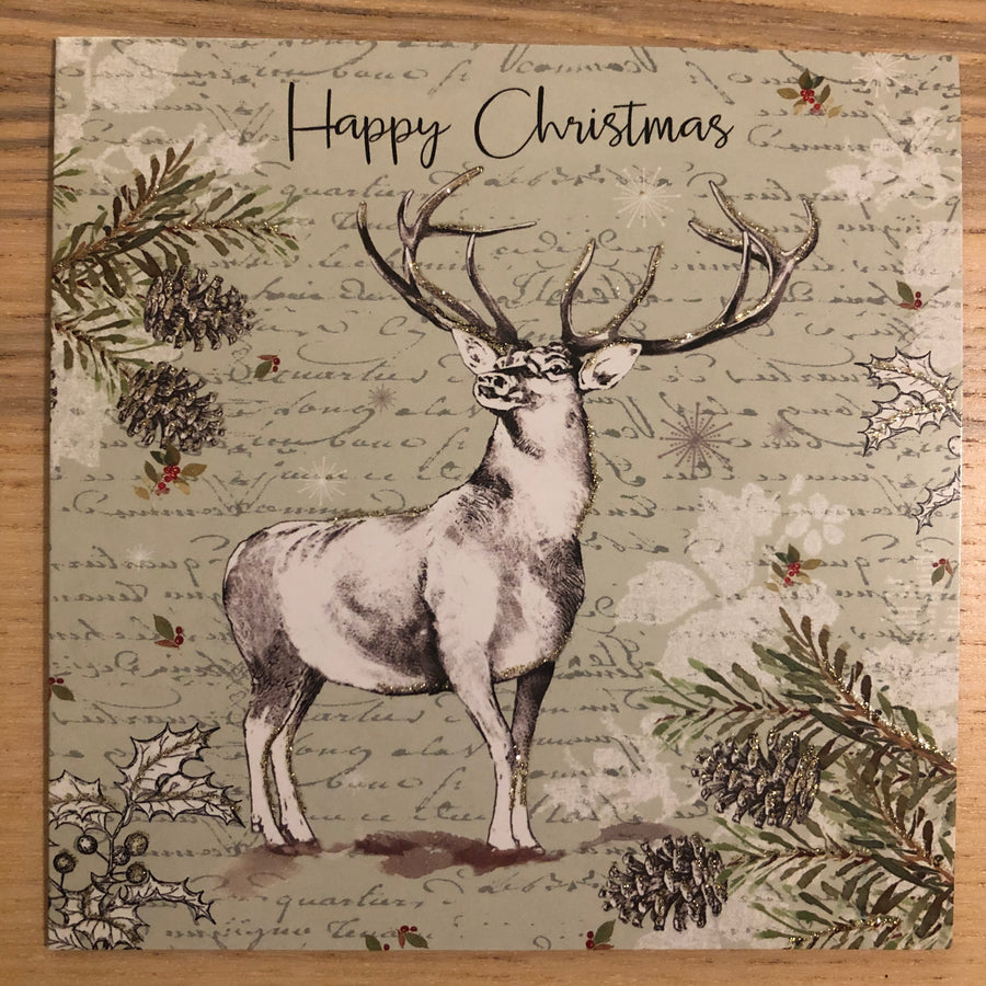 Stag and Robin 2 Designs Christmas Card Pack of 8
