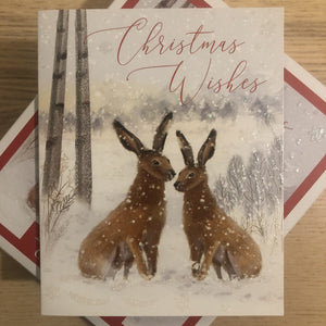 Christmas Wishes Swan Hare Christmas Card Pack of 20 2 Designs