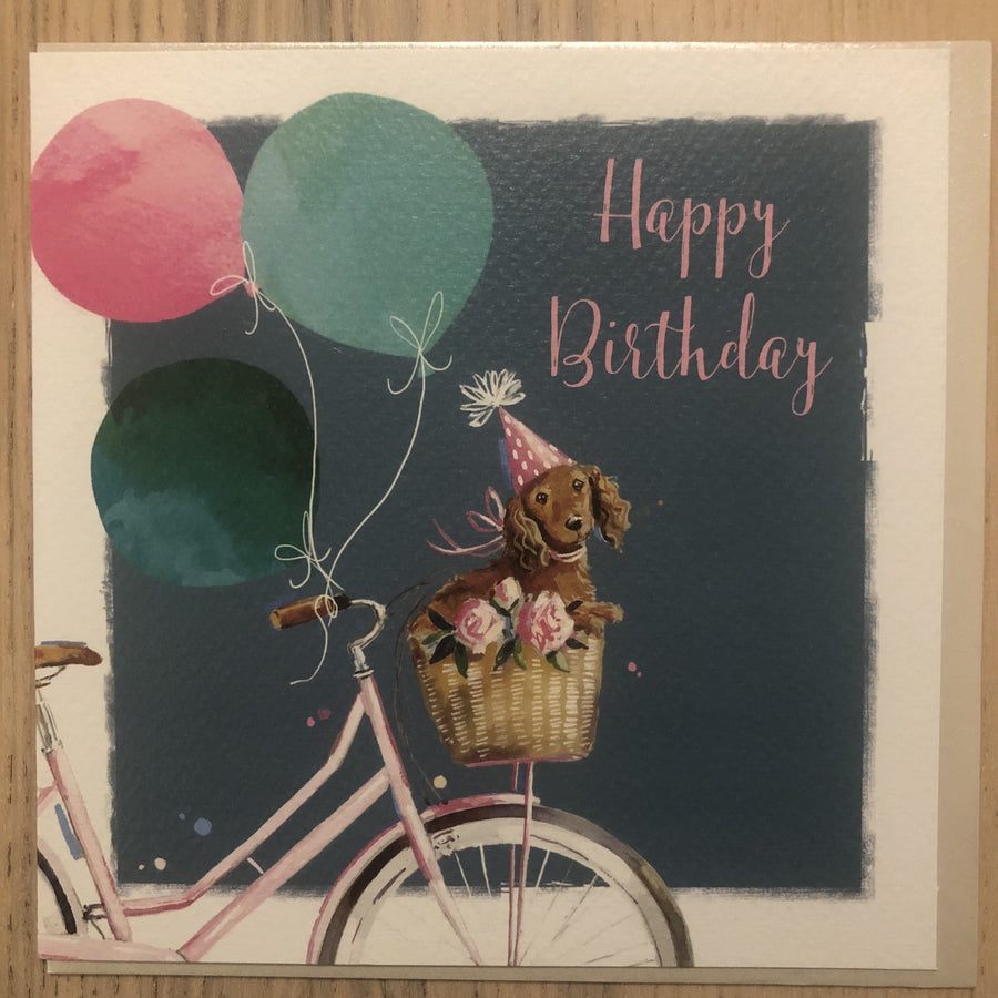 Dog in Bike Basket Happy Birthday Greeting / Birthday Card