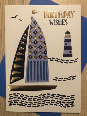Boat Lighthouse Seaside / Birthday Wishes / Birthday Card