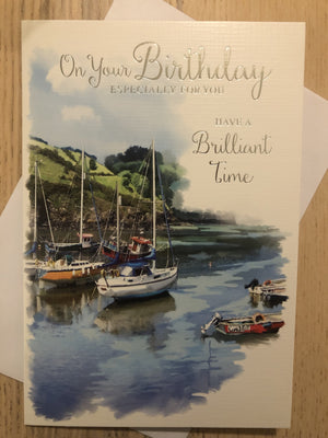 Boat Sailing Seaside / Birthday Card
