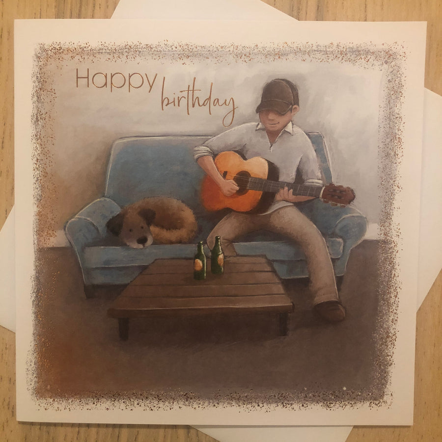 Guitar / Dog / Birthday Card