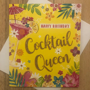 Cocktail Queen / Gold / Birthday Card